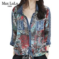 Max LuLu 2019 Luxury Korean Vintage Ladies Denim Tops And Blouses Womens Floral Chiffon Shirts Long Blusas Female Gothic Clothes