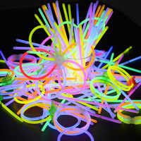 Festa di Natale Al Neon Glowstick Light 100 Pcs Bambini Bastone Divertente Bastone di Incandescenza Giocattoli Glow in The Dark Fluorescente Braccialetto Giocattolo per I Bambini