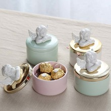 2pcs European-style Ceramic Candy Jar Creative Romantic Cupid Swan Gift Box Sugar Bowl Wedding Ring Baby Full Moon