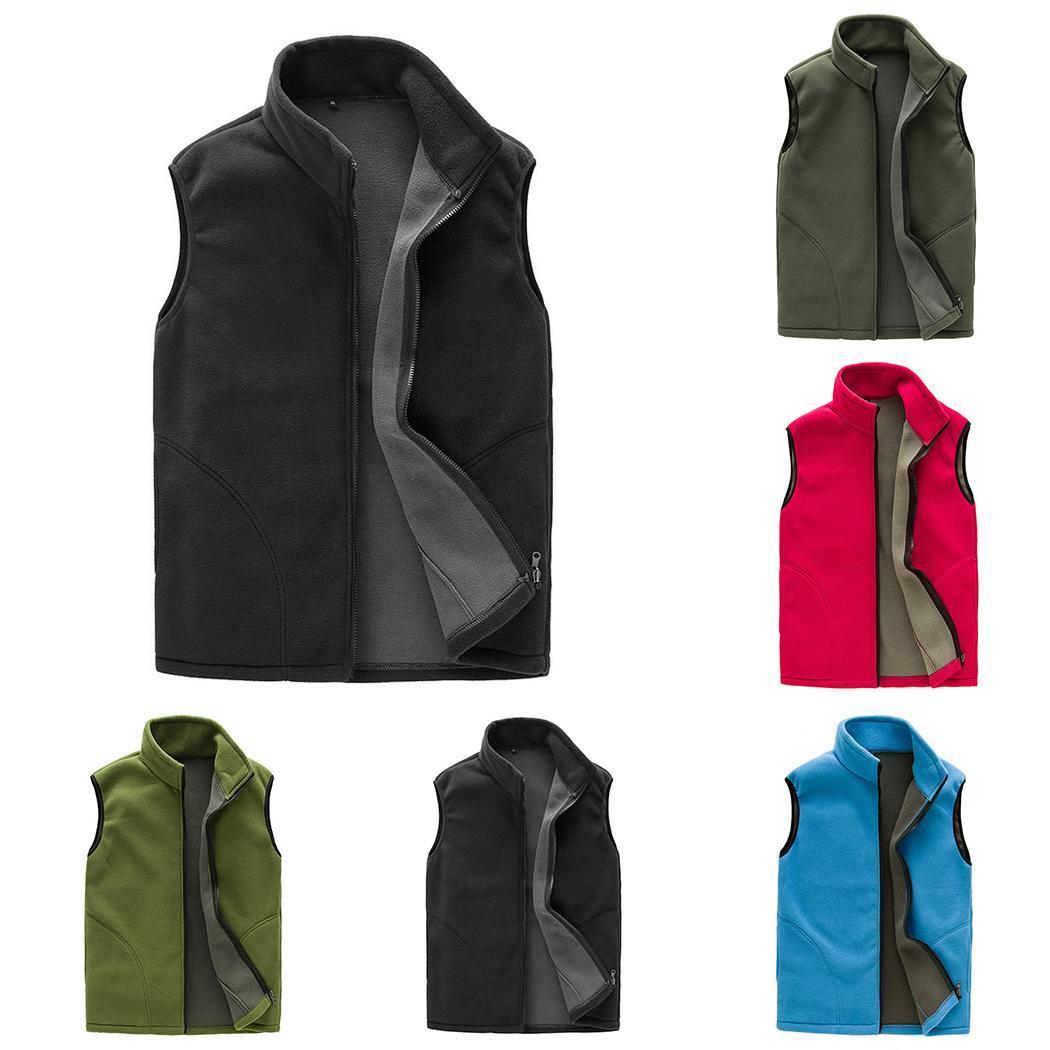 Men Casual Sport Fleece Sleeveless Stand Regular Neck Solid Casual,Outdoor,Cycling Zipper Vest
