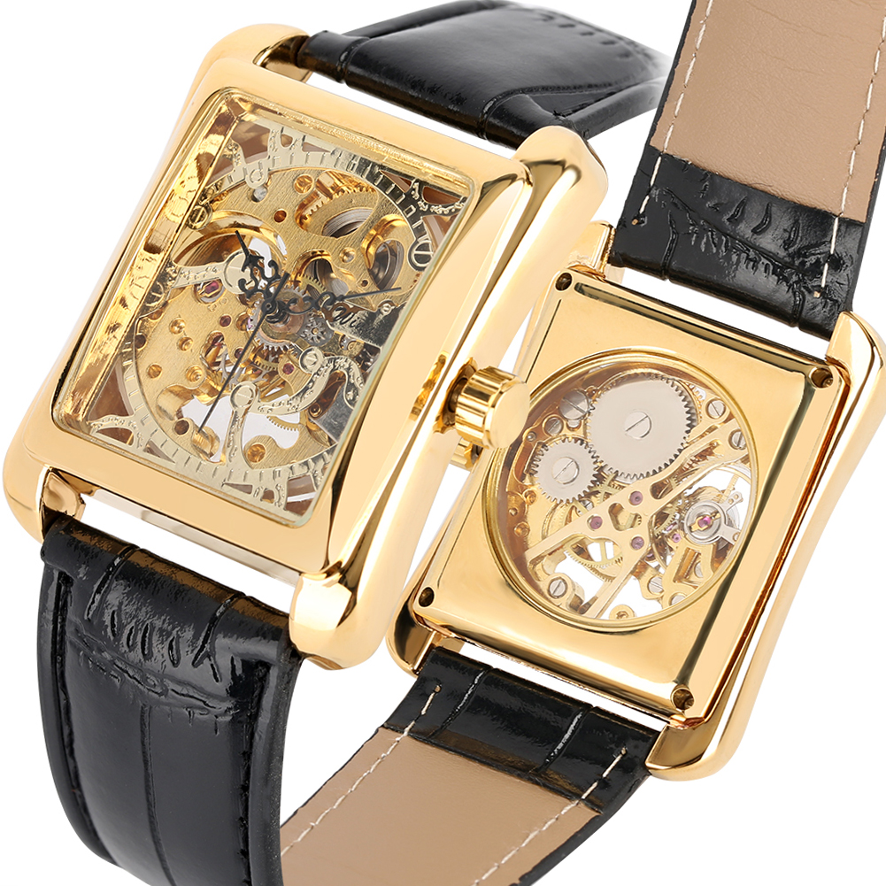 Rectangle Gold Hand-Wind Mechanical Watches Classic Mechanical Watch Skeleton Transparent relogio masculino de luxoRectangle Gold Hand-Wind Mechanical Watches Classic Mechanical Watch Skeleton Transparent relogio masculino de luxo