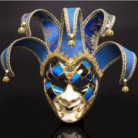 Full Face Men Venetian Theater Jester Joker Masquerade Mask With Bells Mardi Gras Party Ball Halloween Cosplay Mask Costume
