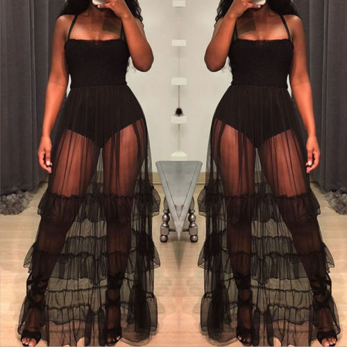 Summer Dresses Sexy Women Perspective Mesh Lace Patchwork Dress Sleeveless Square Collar Elastic High Waist Dress in Dresses from Women 39 s Clothing