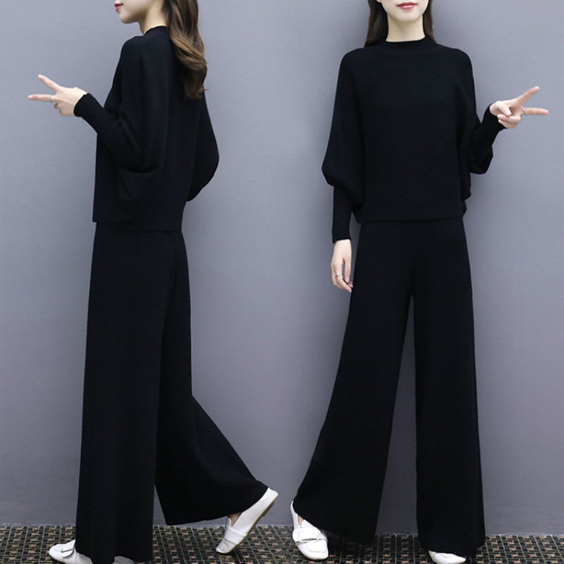 2 piece set women2019 autumn new fashion women's bat sleeve knit wide leg pants suit female loose large size two piece female