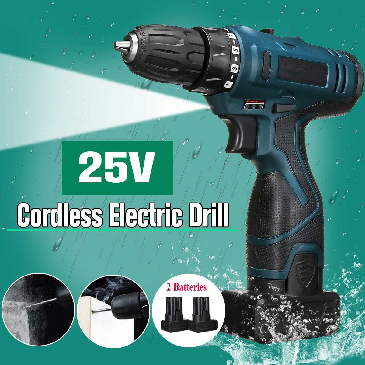 25V LED Light Cordless Power Drill Dual Speed Li-ion Battery Electric Screwdriver Waterproof Motor Torque Screw Power Tools