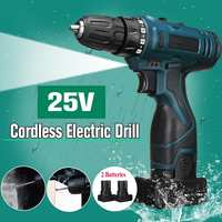 25V LED Light Cordless Power Drill Dual Speed Li ion Battery Electric Screwdriver Waterproof Motor Torque Screw Power Tools