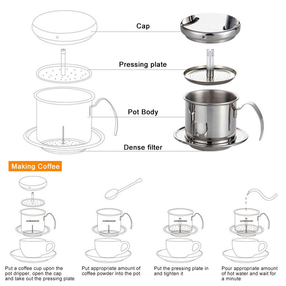 Stainless Steel Coffee Filter Pot Vietnam Coffee Pour Over Maker Dripper Portable Coffee Dripper for Home Outdoor Travelling in Outdoor Tablewares from Sports Entertainment