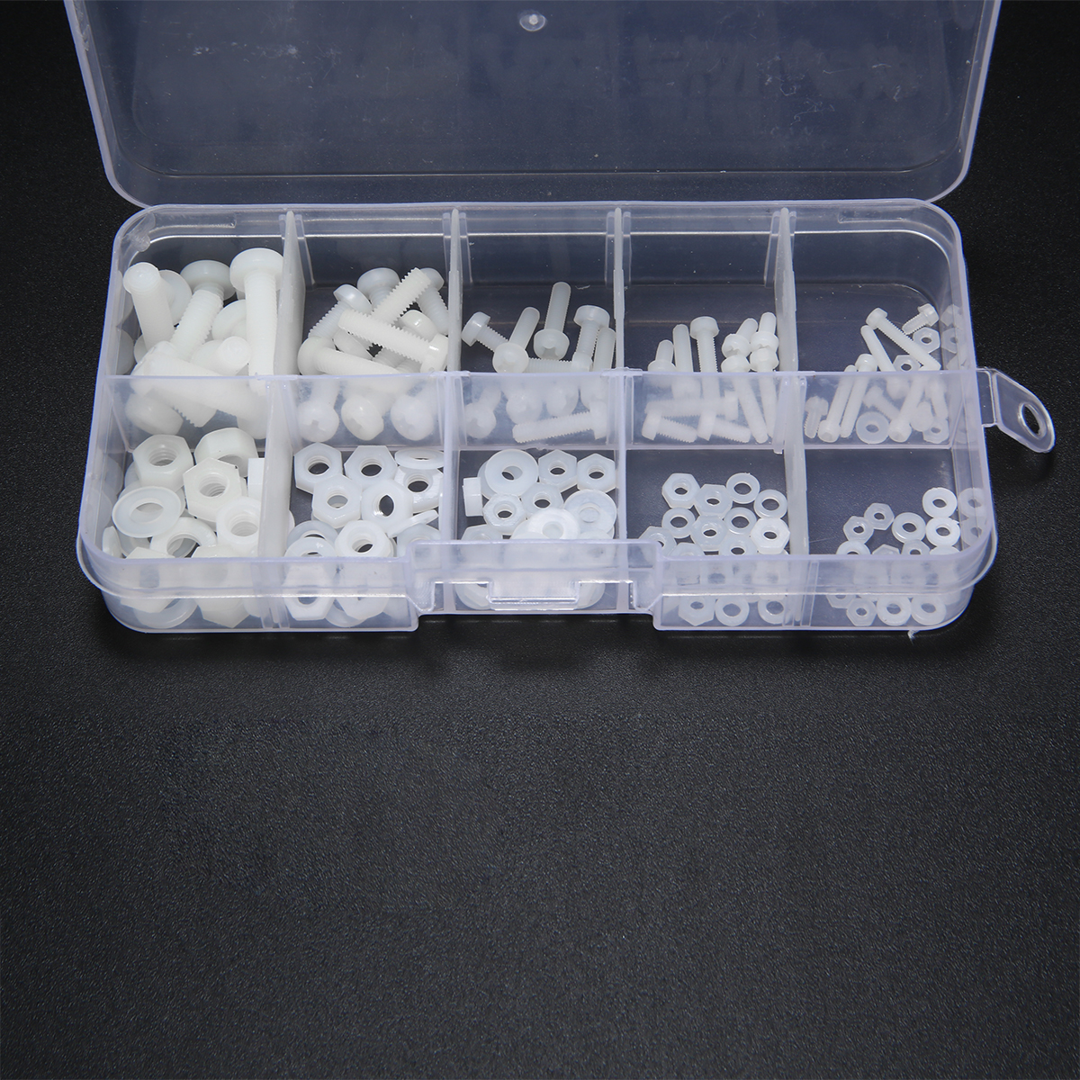 150pcs White Nylon Hex Screw M2 M2.5 M3 M4 M5 Bolt Nut Standoff Spacer Kit with Plastic Box Corrosion Resistant Pakistan
