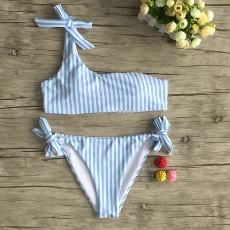 2pcs Women Summer Swimwear Bikini Set Push-up Padded Stripe Beachwear Swimsuit