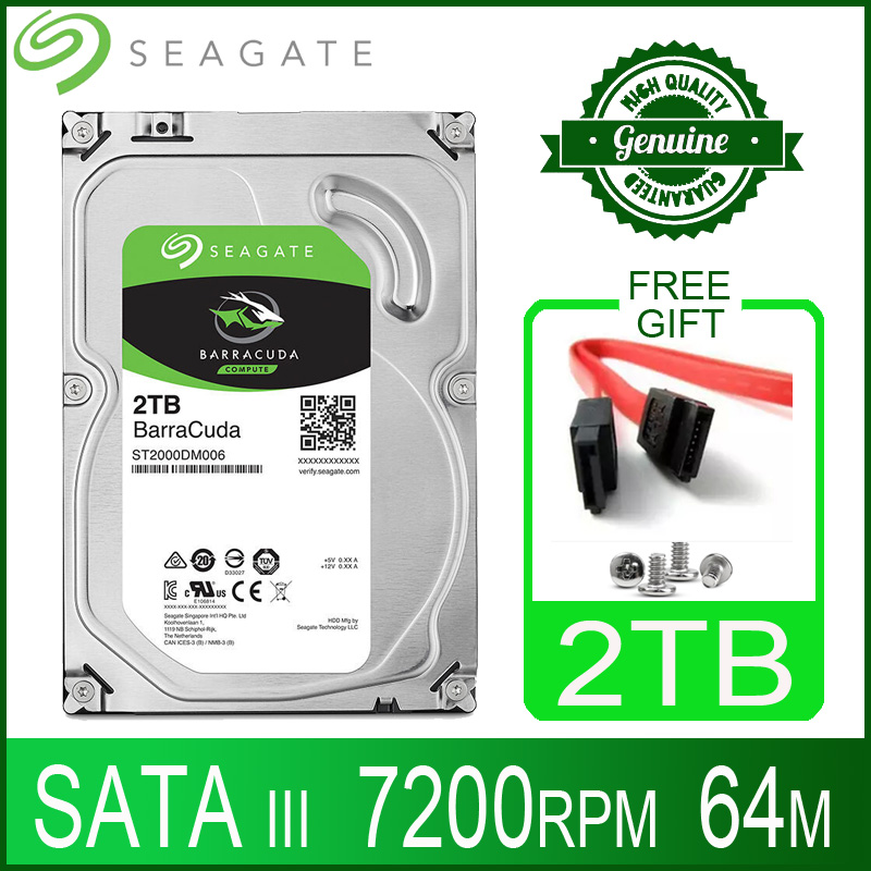 Жесткий диск Seagate 2 ТБ, внутренний жесткий диск, жесткий диск для настольного компьютера, HD 2000 Гб, 2 ТБ, жесткий диск, 7200 об/мин, 64M, 3,5 дюйма, 6 Мб, кэш-памяти SATA III для ПК