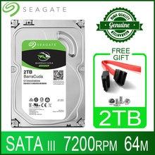 Жесткий диск Seagate 2 ТБ, внутренний жесткий диск, жесткий диск для настольного компьютера, HD 2000 Гб, 2 ТБ, жесткий диск, 7200 об/мин, 64M, 3,5 дюйма, 6 Мб, ...