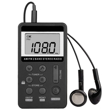 Radio de bolsillo portátil AM FM, Mini estéreo Digital Tuning con batería recargable y auricular para caminar/trotar/gimnasio/Camping