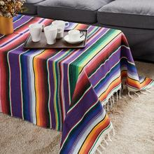 Rainbow Beach Blanket Ethnic Style Cotton Hand Shawl Towel Tablecloth Multi-functional Party Bed Cover