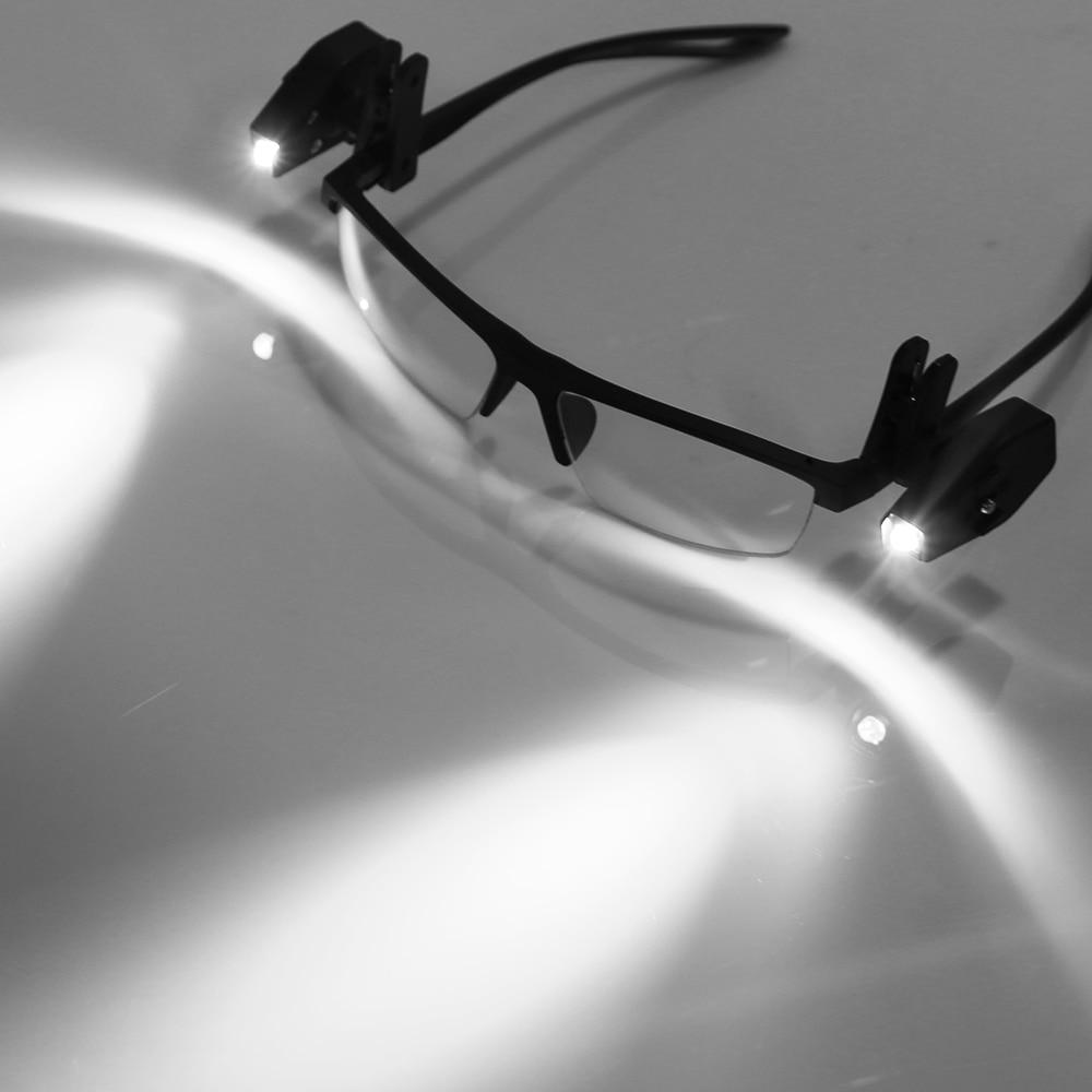 1/2 sztuk mini latarka uniwersalny okulary lampka do czytania okulary klip latarnia regulowane okulary lampa elastyczne lampka do czytania