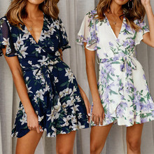 sexy bandage  summer dress clothes for women 2019 sundress casual korean beach floral elegant club wear