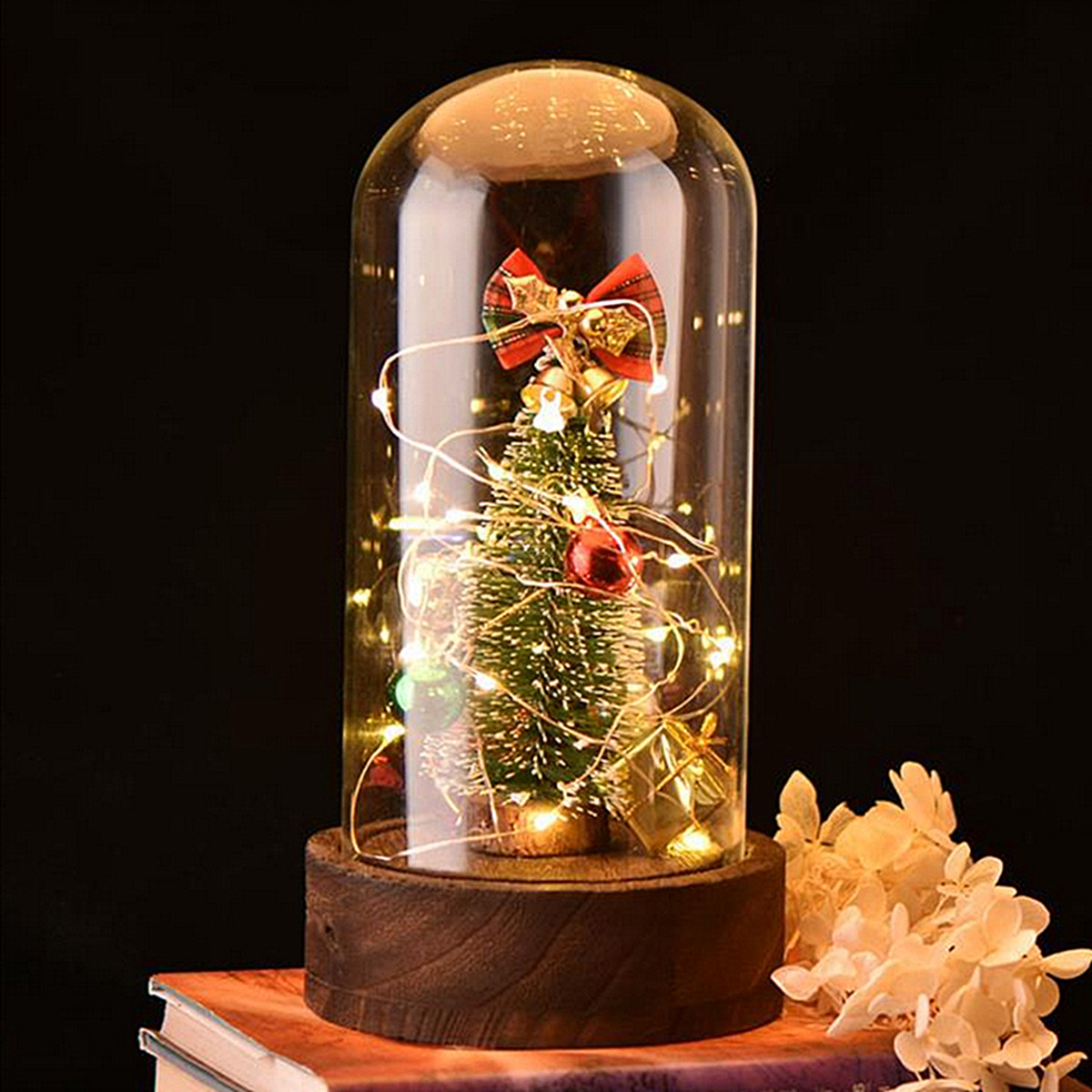 цена на New Christmas Tree Jingle Bell Ornaments Gift Glass Dome Bell Jar + Fairy LED Lights Wooden Base + Music Box Song For Home Decor