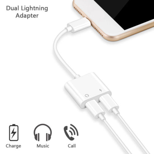 2 In 1 Charger Listening Adapter For Iphone X 8 Plus Charging Adapter 3.5mm Jack AUX Splitter For Iphone XS MAX