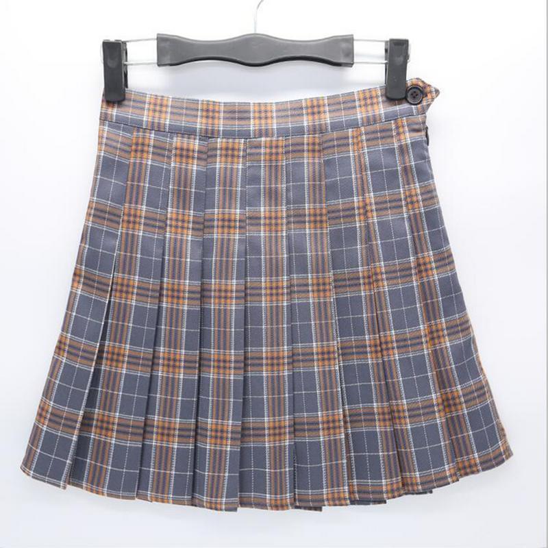 2019 New High Waist Short Skirts Japanese Korea Preppy Mini Womens Skirts Kawaii Pink Plaid Pleated Tennis Casual Skirt 3 Colors