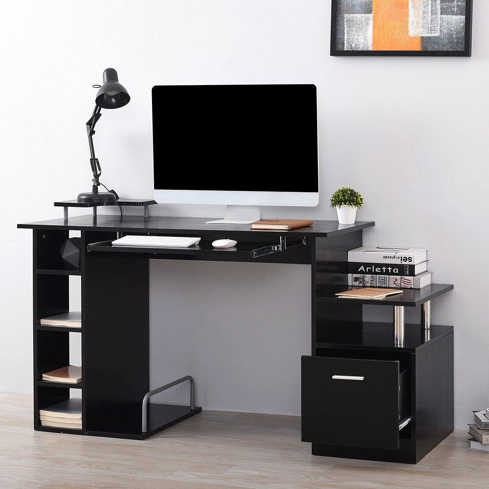 Panana Wood Computer Desk Laptop Workstation PC Table Drawer Shelf Office Home Business Black