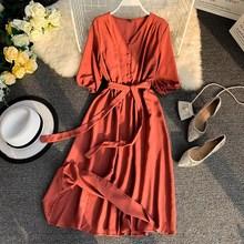 Spring V Neck Midi Summer Dress Sashes Women Bandage Casual Elegant High Waist Party Dresses Vestidos