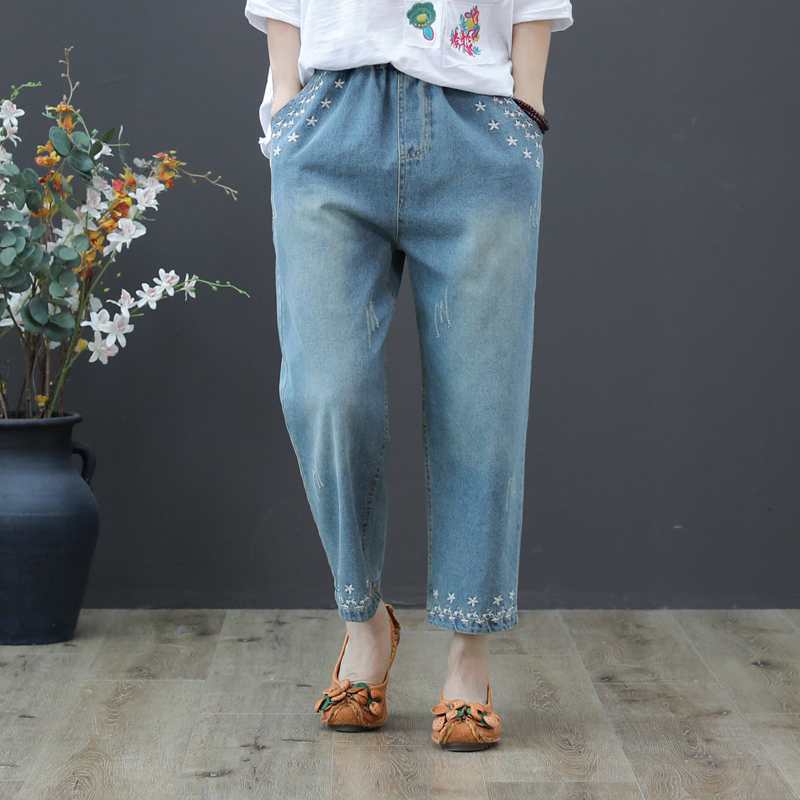 2019 Spring Summer Women Straight Denim Pants Blue High Waist   Jeans   Woman Casual Vintage Embroidery Boyfriend Mom   Jeans