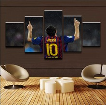 Canvas Paintings Home Decorative HD Prints Poster Framework For Living Room 5 Pieces Sports Lionel Messi Pictures Wall Art