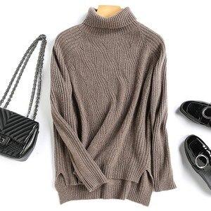 Image 1 - באיכות גבוהה סתיו חורף נשים קשמיר צמר גולף סוודר סוודרי חם רך רופף מזדמן בציר אופנה פראי מוצק