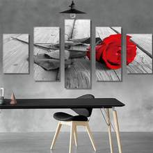 5 Canvas Painting Wall Art Pictures home decor Wall poster decoration for living room no frame prints beautiful rose on canvas(China)