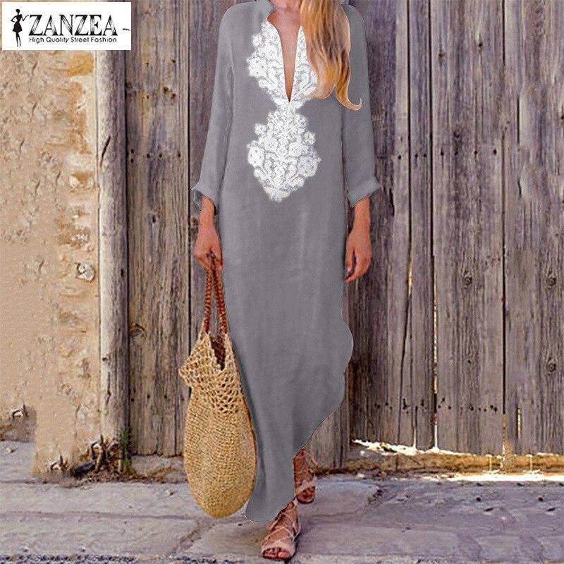fe9c8f02ae Detail Feedback Questions about ZANZEA 2019 Vintage Maxi Dress Women V Neck  Long Sleeve Print Long Vestido Female Spring Bohemian Long Dresses Robe ...
