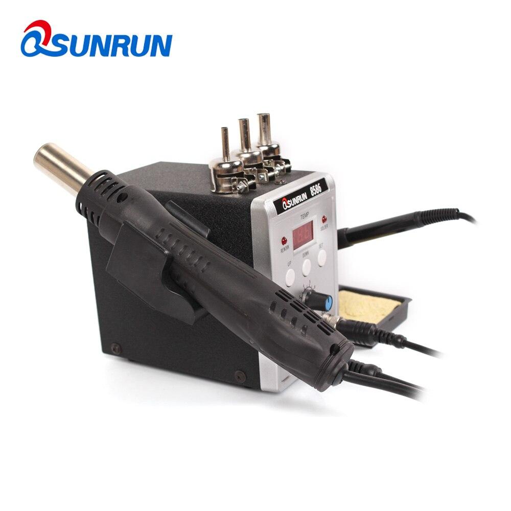 Qsunrun New 8586 2 in 1 SMD/BGA Rework Station, 110V/220V 700W IC Soldering Station with Hot Air Gun,Solder Iron,Air nozzles-in Soldering Stations from Tools    2
