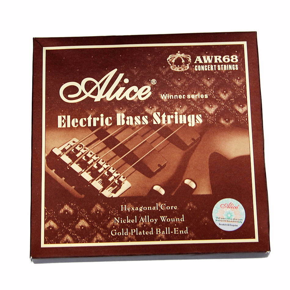Alice Electric Bass Strings 045 065 085 105 Inch  Hexagonal Core Nickel Alloy Wound Gold Plated Ball-End 4 Strings/set