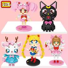 LOZ Sailor Moon Luna kedi Wigglytuff Flamingo geyik Alrale penguen köpek Mini elmas yapı küçük bloklar tuğla oyuncak hiçbir kutu
