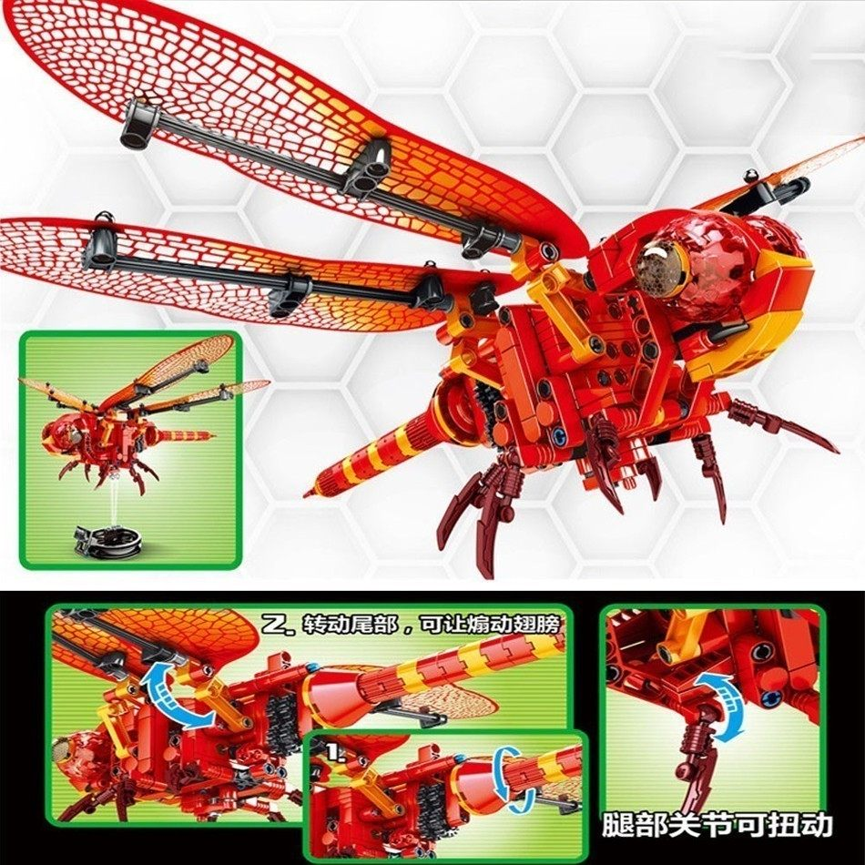 Simulated insect DIY Bee Wasp model Building Blocks Compatible Lego Technic  Bricks set Educational Toys dragonfly Block