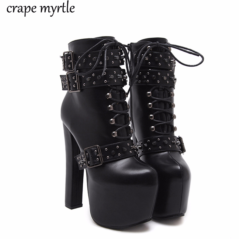 lace up Boots 2018 Fashion Thick Heel Ankle Boots Women High Heels Autumn Winter Woman Shoes rivet boots platform shoes YMA405lace up Boots 2018 Fashion Thick Heel Ankle Boots Women High Heels Autumn Winter Woman Shoes rivet boots platform shoes YMA405
