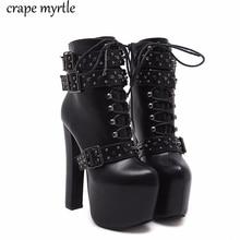 все цены на lace up Boots 2019 Fashion Thick Heel Ankle Boots Women High Heels Autumn Winter Woman Shoes rivet boots platform shoes YMA405 онлайн