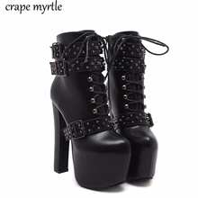 Купить с кэшбэком lace up Boots 2020 Fashion Thick Heel Ankle Boots Women High Heels Autumn Winter Woman Shoes rivet boots platform shoes YMA405