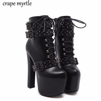 lace up Boots 2020 Fashion Thick Heel Ankle Boots Women High Heels Autumn Winter Woman Shoes rivet boots platform shoes YMA405