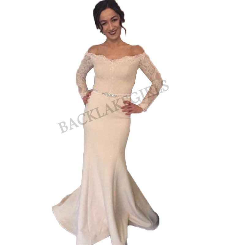 Robe de soiree longue Simple Elegant Long Sleeve Evening   Dresses   Mermaid Beaded Sash Cheap   Prom     Dress