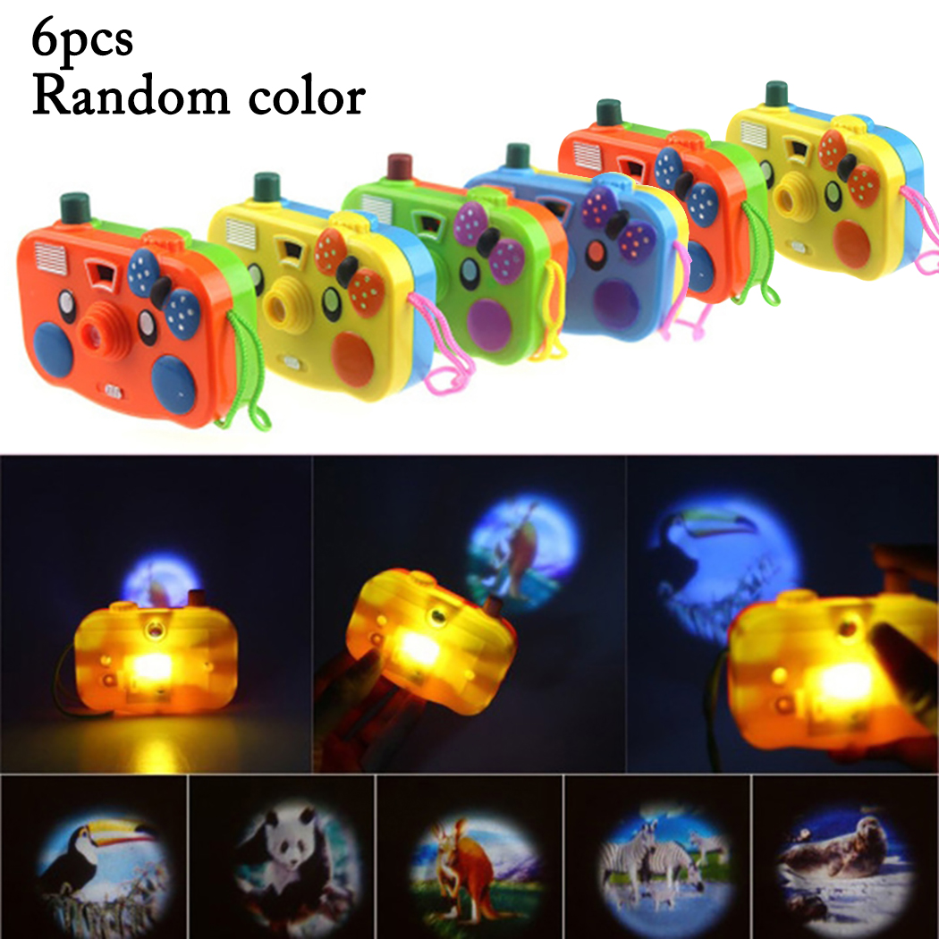 6PCS New Animal Projection Mini Camera Toy With Light Cartoon LED Flashing Educational Toy Kid Children Birthday Gift Baby Toy