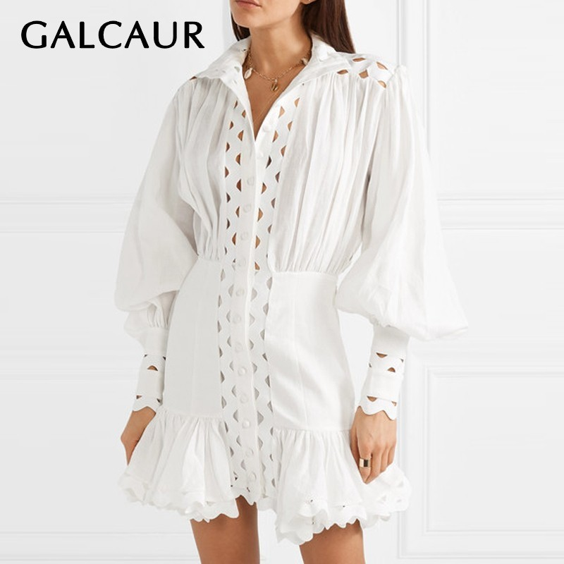 GALCAUR Casual Hollow Out Mini Dress Women Stand High Waist Lantern Sleeve Ruffles Slim Short Dresses
