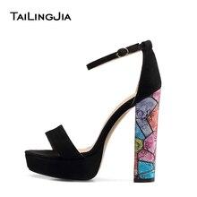 Black Platforms for Women Strappy Dress Heels Floral Block Heel Sandals Ladies High Heel Ankle Strap Summer Shoes Big Size 2018 цена в Москве и Питере