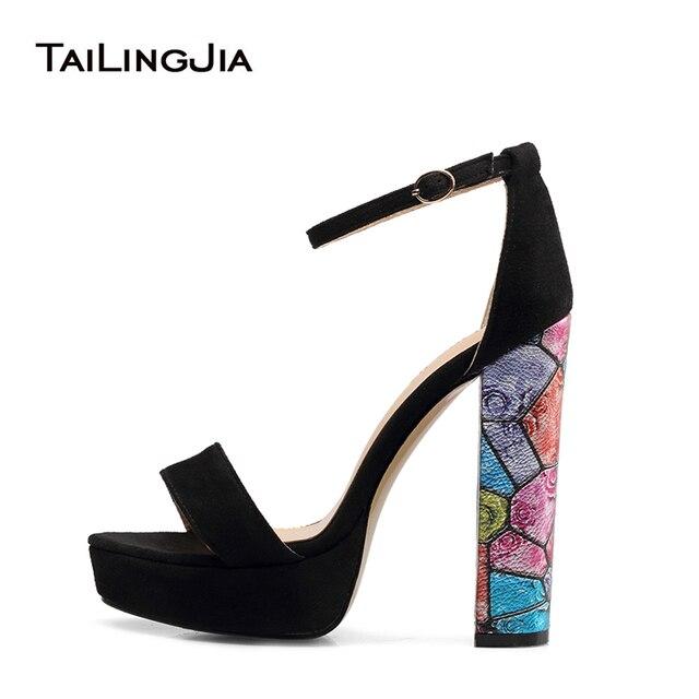 03cef077fb78 Black Platforms for Women Strappy Dress Heels Floral Block Heel Sandals  Ladies High Heel Ankle Strap Summer Shoes Big Size 2018