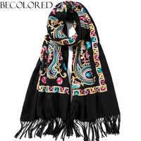 Embroidered Scarf Paisley Cashmere Shawl Soft Brushed Ponchos Pashmina Wrap Cape Oversized Hijab Head Scarves 66x200cm 350g