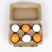 6 個ふり再生教育玩具木製の卵の卵黄キッチン調理