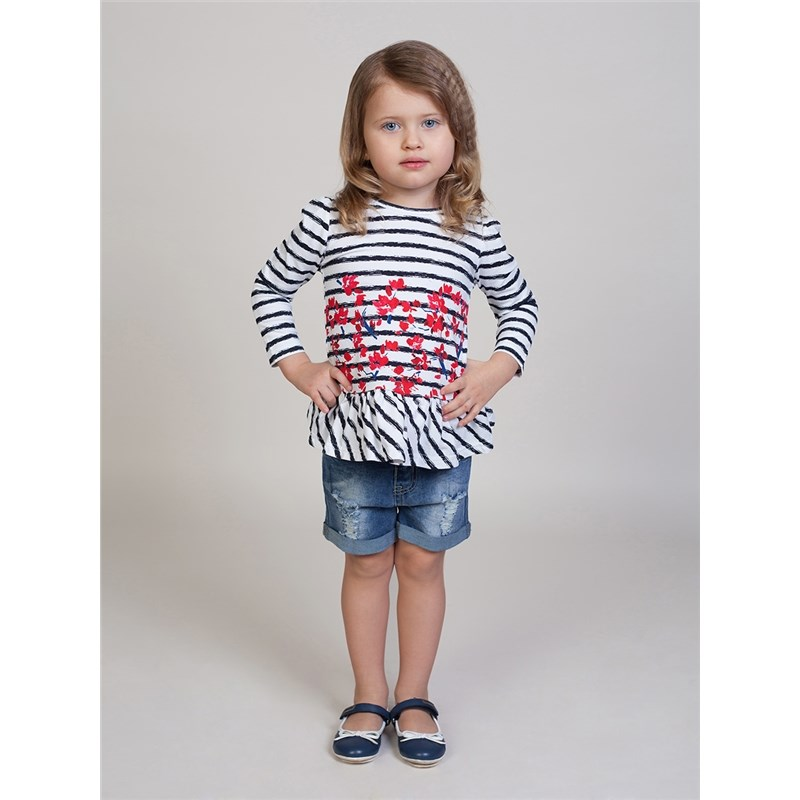 Shorts Sweet Berry Girls denim shorts children clothing kid clothes raw hem stripe side ripped denim shorts