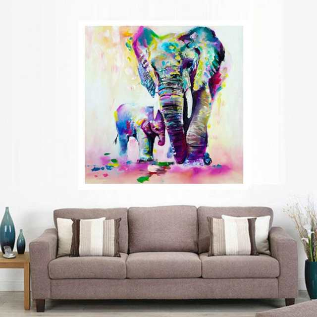 Frameless Vintage Painting Elephant Diy Painting By Numbers Kits Acrylic Paint On Canvas Home Wall Art Picture Artwork