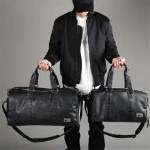 AEQUEEN Black Men Travel Duffle Bags Waterproof PU Leather Handbags Shoulder Bag For Women Man Totes Large Capacity Weekend Bag