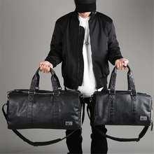 AEQUEEN czarne męskie torby podróżne torba-worek wodoodporne torebki ze skóry PU torba na ramię dla kobiet Man Totes torba weekendowa o dużej pojemności tanie tanio Wszechstronny 22cm 51cm zipper Podróż skrzynki Male Gym Bag Sport Shoulder Bag Miękkie Moda PU Leather 28cm Stałe SKUA82766