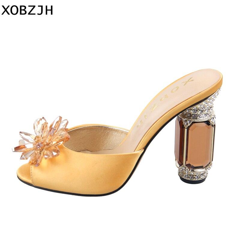 Hauts Luxe Bout Ouvert Femmes Jaune À De Chaussures Pantoufles Dames Taille Grande Mariage Soie Femme Sandales 2019 Talons D'été Haute lc5uKJTF13