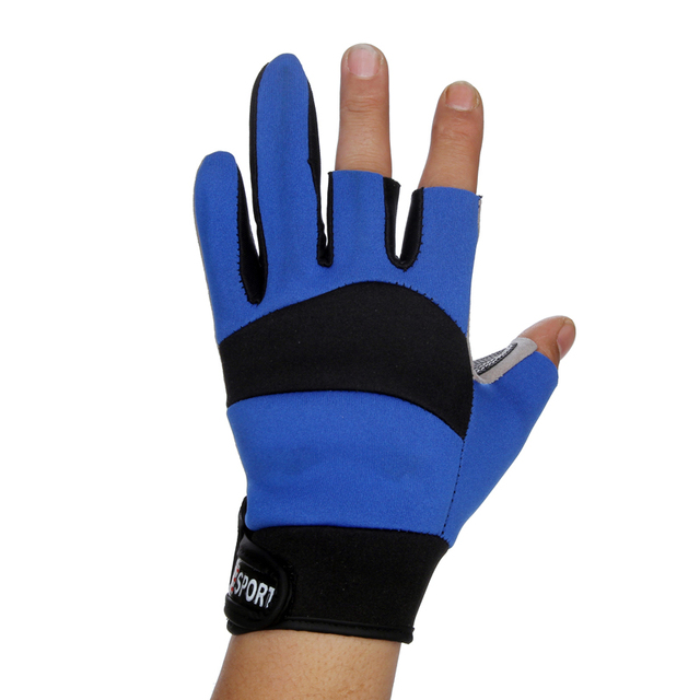 Best Price 1 Pair New 3 Finger Cut Fishing Gloves for Men Blue Windproof Outdoor Sports Anti-slip Durable Fishing Equipment Gloves Pesca